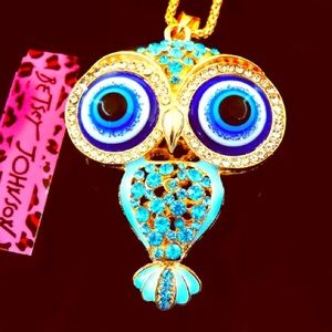 NWT🦉💙 Betsey Johnson Blue Crystal Owl Necklace